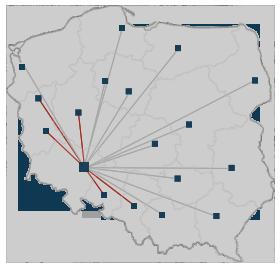 Mapa Polski: Zasięg terytorialny świadczonych usług