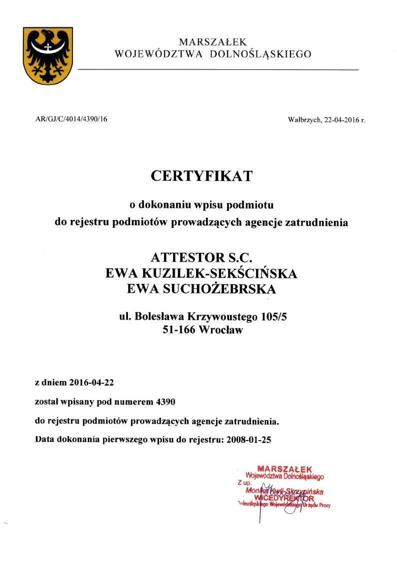 Certyfikat o dokonaniu wpisu podmiotu do rejestru podmiotów prowadzących agencje zatrudnienia.