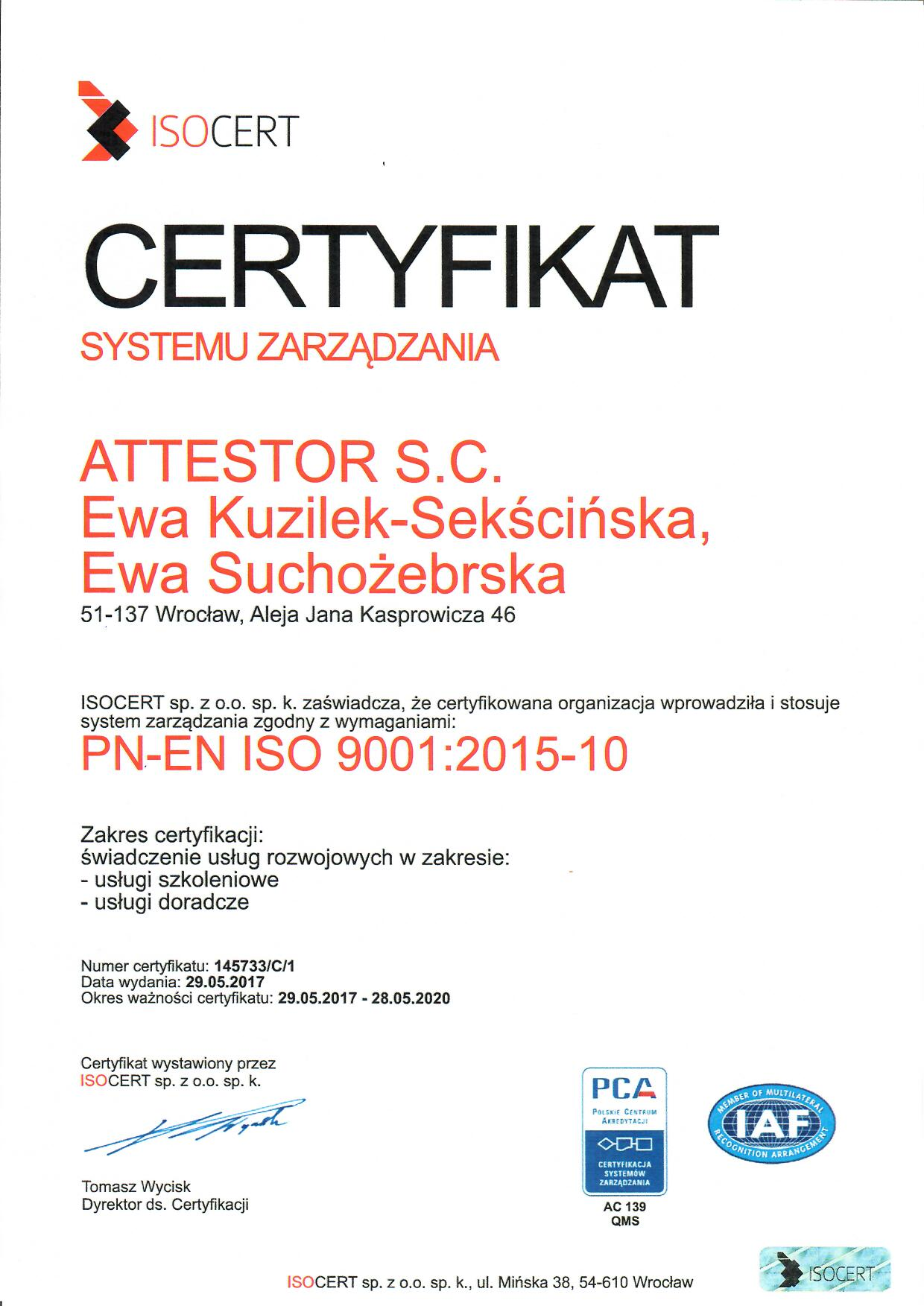 Certyfikat ISO 9001:2015 firmy Attestor SC